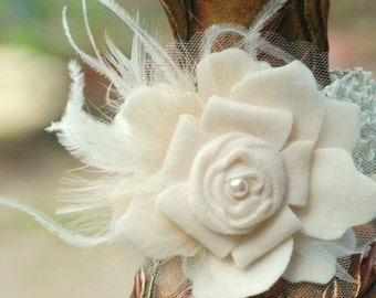 Ivory HAIR CLIP. White Black Aqua Flower. Brooch Pin, Barrette, Comb. Spring Chic Couture Bridal Bridesmaid. Pearl Feather Statement Rosette