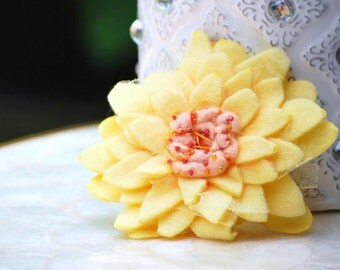 Yellow Flower Hair Clip, Brooch Pin, Headband. Happy Orange Blush Peach Salmon, Spring Shabby Chic Princess, Toddler Stylish Birhtday Gift