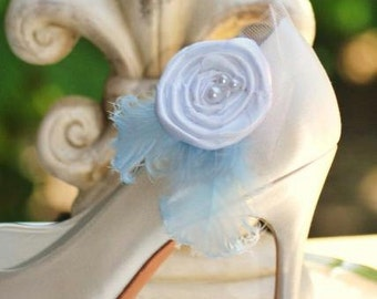 Bridal Blue Shoe Clips Ivory or White Pearls Feathers. Handmade Feminine Beige, Baby Sky Bleu Azure Pastels, Spring Couture Bride Bridesmaid
