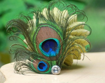 Peacock Duo Hair Clip / Comb. Sparkly Elegant Big Day Wedding Wear, Feather Glitz & Glam Accessory, Feminine Girly Party, Statement Spring
