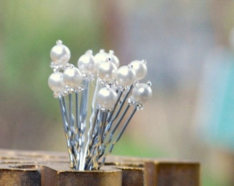 Wedding U Hair Pins. Set of 6 Ivory / White Pearl 3 OR 2 inch Silver. Couture Bridal Beaded Gift,  Elegant Bride Bridesmaid, Graduation Prom