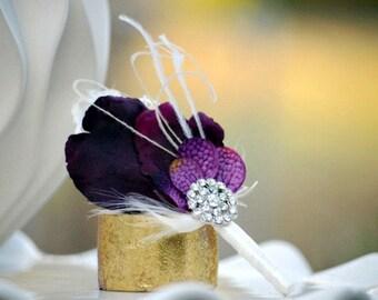 Boutonniere - Buttonhole Aubergine Purple / Red / Blue / Amethyst & Silver Rhinestone Crystal. Groom Groomsmen Bridal, Harvest Eggplant Plum