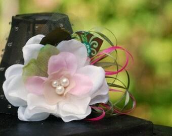 Flower Hair Clip Vintage Shabby Chic Style. Ivory Pearls & Pink Fern Olive Green Brown, Deinty Girly Preppy, Elegant Stylish Bridesmaid Girl