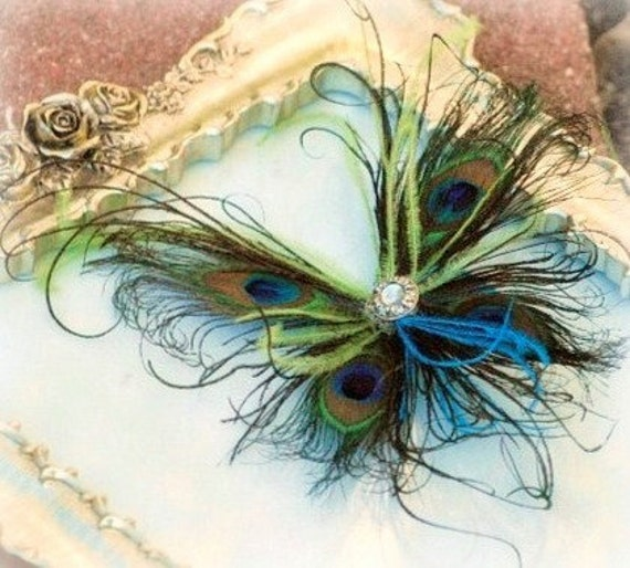Peacock Feather Butterfly Fascinator Clip Comb Pin. Wedding Engagement. Spring Papillon Farfalla Mariposa. Paon Pfau Pavo. Bride Flower Girl