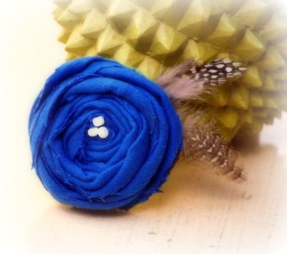 Santorini Royal Blue / Cobalt  & Feathers Clip. Handmade Photo Prop Birthday Gift, Preppy Chic Couture Toddler Women, White Beads or Pearls