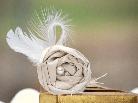 Champagne & Feathers Clip, OR Pin. Handmade Photo Prop, Chic Couture Preppy Birthday Gift, Ivory / White Pearl. Tan Khaki Beige Natural Nude