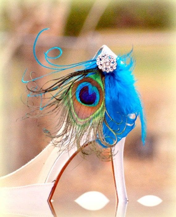 Shoe Clips Peacock & Turquoise Feathers. Couture Bride Bridal Bridesmaid, Statement Egagement Party. Vibrant Deep Dark Blue Green Teal Ocean