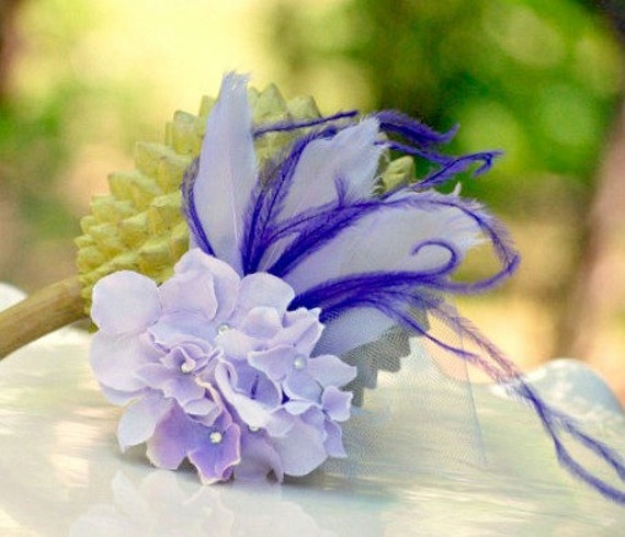 Lavender & Purple Hydrangeas Fascinator Hair Clip / Comb / Brooch Pin. Spring Couture Elegant French Style, white ivory Pearl / Rhinestone