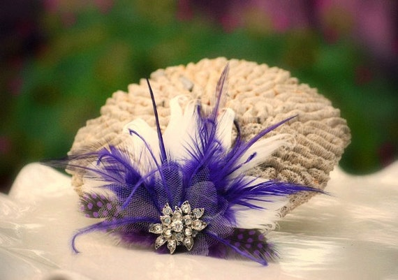 Hair Comb or Clip Royal Purple & Ivory / Black / White / Feathers Rhinestone. Bride Bridal Burlesque Couture Glitz, Winter Pantone Statement