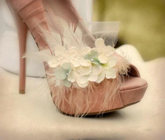 Shoe Clips Ivory & Celadon Sage Pistachio Green Hydrangeas. Bridesmaid Bride More: White Lilac Fuchsia Navy. Feather Tulle. Etsy Fun Couture