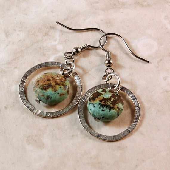 Earrings, Hammered Links, Jasper Bead
