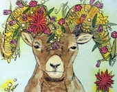 Bloomin' Bighorn Sheep mini original painting
