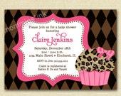 Leopard Cupcake Shower Invitation - PRINTABLE INVITATION DESIGN