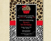 Zebra Print & Leopard Cupcake Invitation - PRINTABLE INVITATION DESIGN