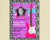 Rock Star Guitar Birthday Party Invitation - Rocker Invite - Girl's Birthday - Guitar Invite - PRINTABLE INVITATION DESIGN