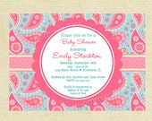 Pink and Blue Paisley Baby Shower Invitation - PRINTABLE INVITATION DESIGN