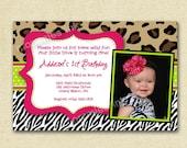 Wild Animal Print Custom Photo Birthday Invitation -  PRINTABLE INVITATION DESIGN