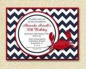 Preppy Chevron Crab Birthday Party Invitation - Navy Blue and Red - PRINTABLE INVITATION DESIGN
