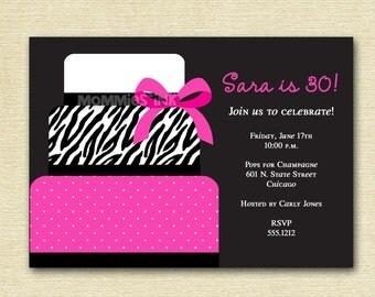 Chic Pink and Zebra Print Cake Birthday Party Invitation - PRINTABLE INVITATION DESIGN