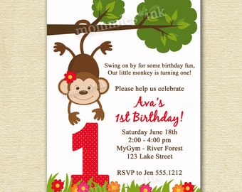 Flowered Monkey Business - Birthday Party Invitation - PRINTABLE INVITATION DESIGN