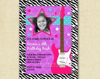 Rock Star Guitar Birthday Party Invitation - Rocker Invite - Girl's Birthday - Guitar Invite - PRINTABLE INVITATION DESIGN