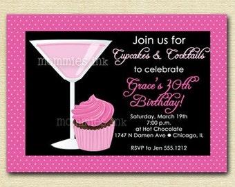 Dotty Cupcakes and Cosmos Birthday Invite - PRINTABLE INVITATION DESIGN