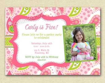 PInk and Green Paisley Photo Birthday Party Invitation - PRINTABLE INVITATION DESIGN