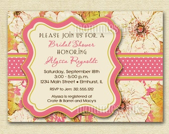 Bridal Shower Invitation, Bridal Shower Invite, Vintage Blooms Invitation, Shower Invitation, Pink Floral Invitation, Pink Invitation, DIY