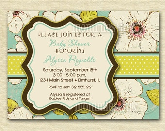 Baby Shower Invitation, Floral Baby Shower Invitation, Vintage Invitation, Vintage Blooms Invitation, Shower Invitation, Aqua Invitation