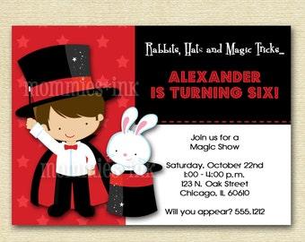 Magic Show Birthday Party Invitation - Photo Option Available - PRINTABLE INVITATION DESIGN