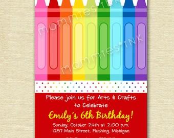 Crayon Arts and Crafts Birthday Party Invitation - PRINTABLE INVITATION DESIGN