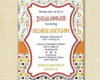 Mod ABC Polka Dot Baby Shower Invitation - Alphabet Invitation - ABC Invite - Baby Shower Invite - PRINTABLE