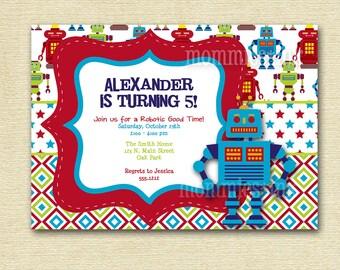 Bright and Colorful Robot Custom Birthday Invitation - PRINTABLE INVITATION DESIGN