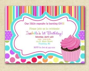 Cupcake Birthday Party Invitation, Cupcake Invitation, Colorful Cupcake Invitation, Bright and Colorful Invitation, Pink Cupcake Invite