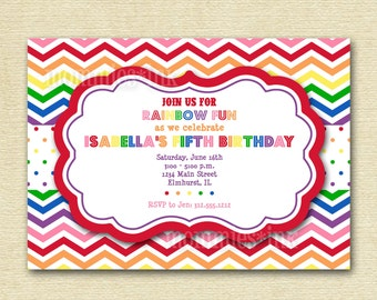Rainbow Chevron Birthday Invite - Rainbow Colors - PRINTABLE INVITATION DESIGN