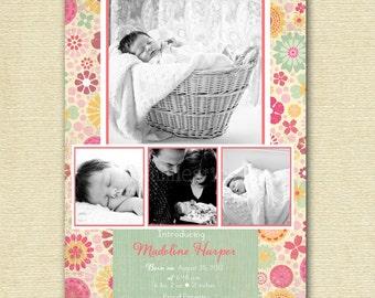 Girl Birth Announcement, Floral Birth Announcement, Floral Baby Announcement, Multiple Photo Announcement, It's a Girl Announcement, Girly