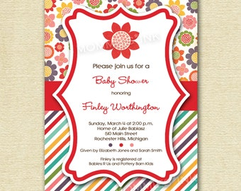 Bright Rainbow Flowers and Stripes Baby Shower Invite - PRINTABLE INVITATION DESIGN