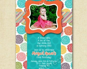 Colorful Rainbow Pretty Posies Birthday Party Invite - PRINTABLE INVITATION DESIGN