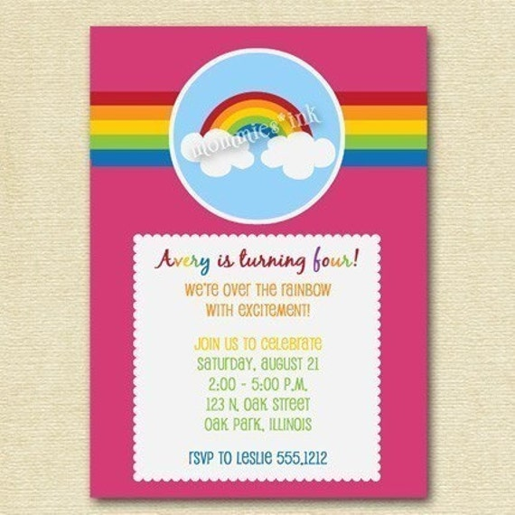 items similar to over the rainbow birthday party invitation, Birthday invitations