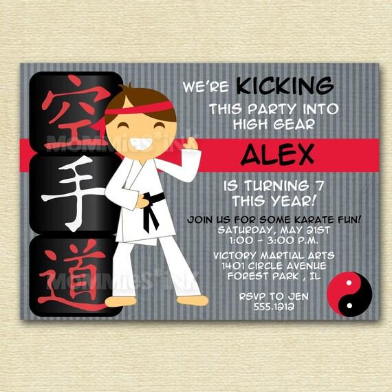 Karate Boy Or Girl Custom Birthday Invitation Tae By