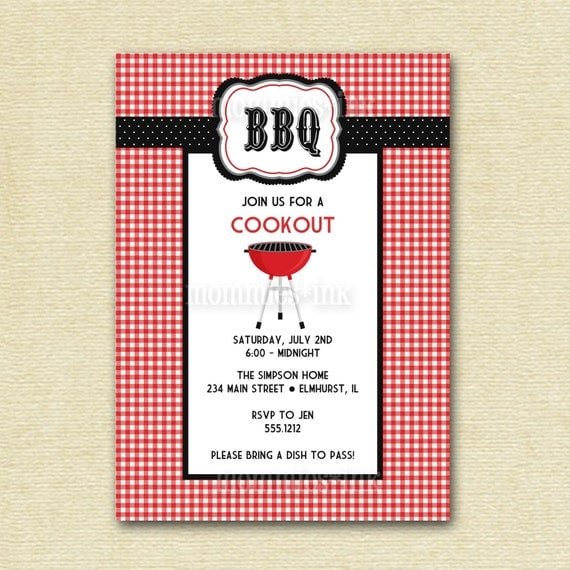 birthday bbq cookout invitation summer party invitation bbq