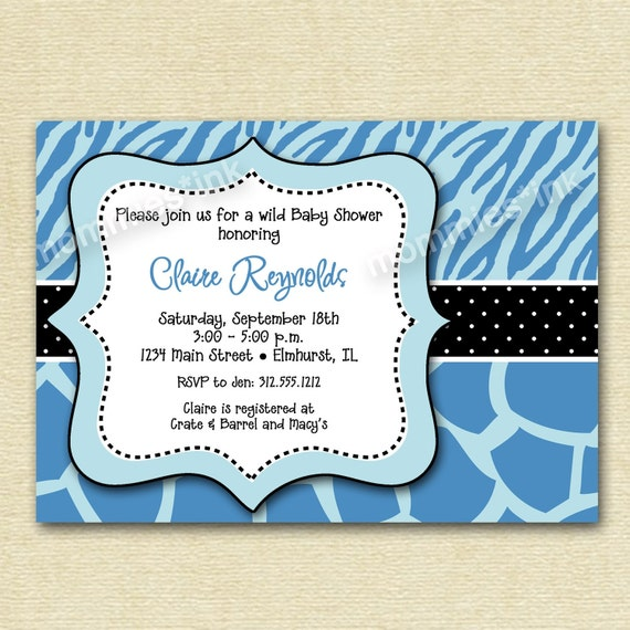 Wild Baby Shower Invitation Blue Zebra And Giraffe By