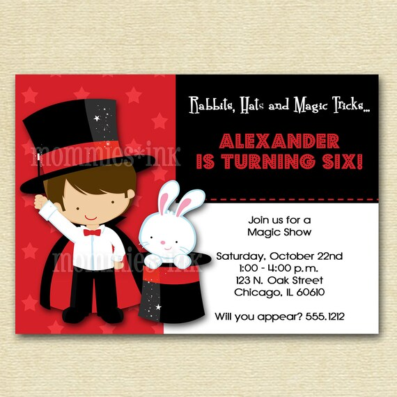 Magic Show Birthday Party Invitation - Photo Option Available - PRINTABLE INVITATION DESIGN
