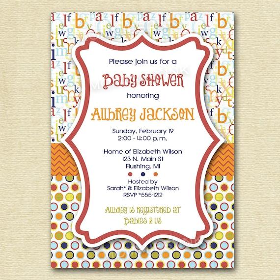 Mod ABC Polka Dot Baby Shower Invitation - Alphabet Invitation - ABC Invite - Baby Shower Invite - PRINTABLE