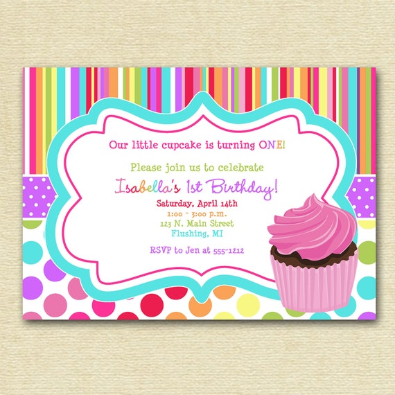 Cupcake Birthday Party Invitation, Cupcake Invitation, Colorful Cupcake Invitation, Bright and Colorful Invitation, Pink Cupcake Invite