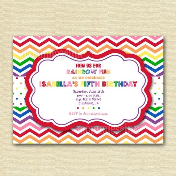 Rainbow Chevron Birthday Invite - Rainbow Colors - PRINTABLE INVITATION DESIGN