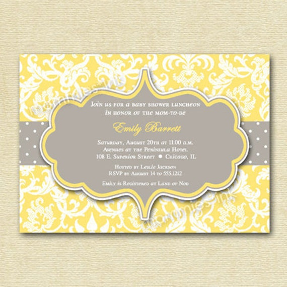 Items Similar To Yellow And Gray Damask Baby Shower