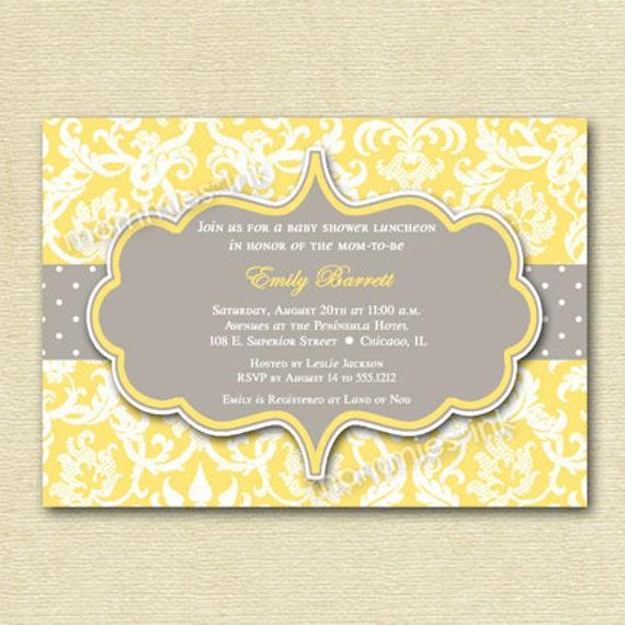 yellow and gray damask baby shower invitation printable invitation