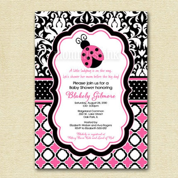 Baby Shower Invitation Ladybug Baby Shower By MommiesInk