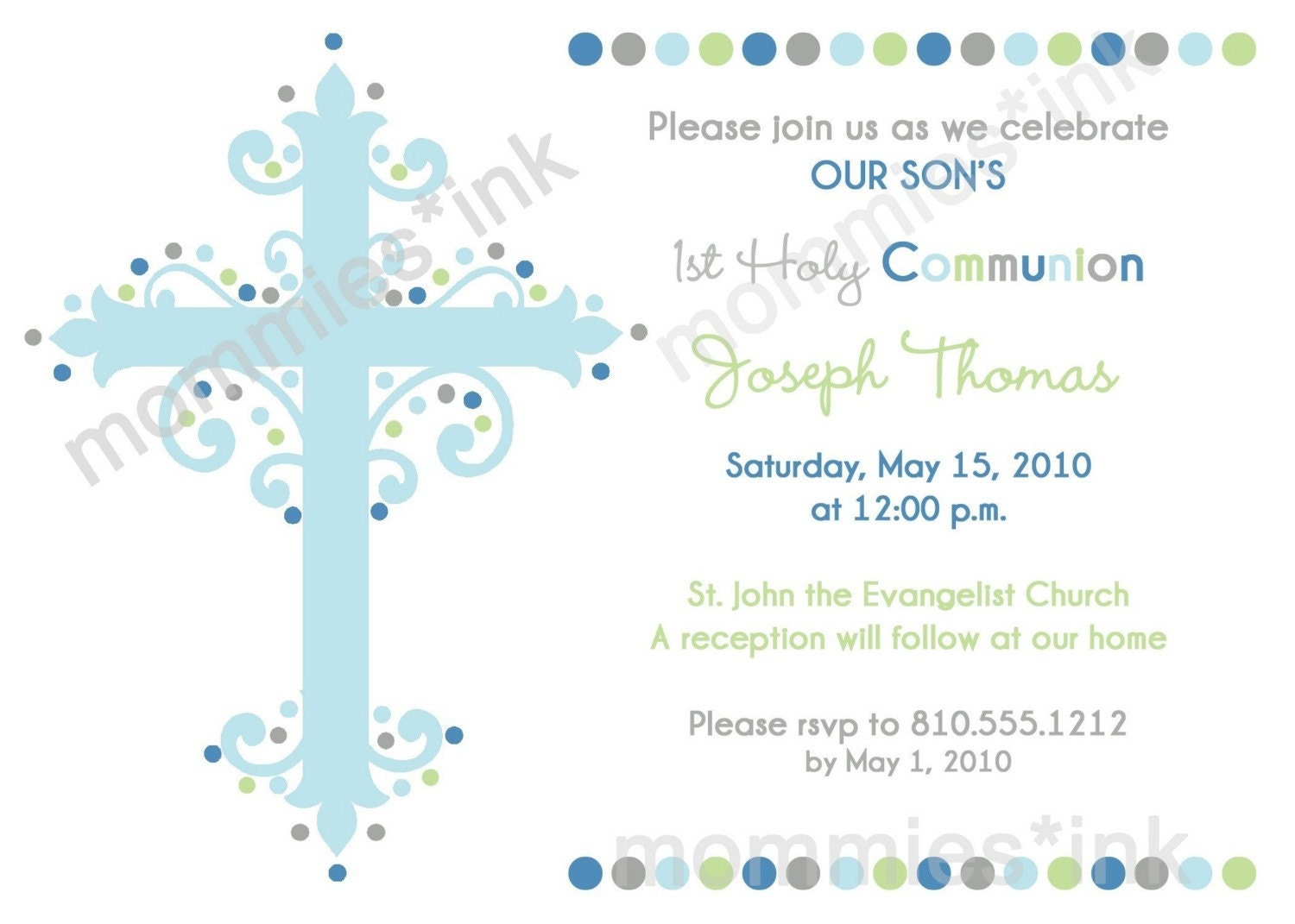 First Communion or Baptism Invitation Boy PRINTABLE by ...